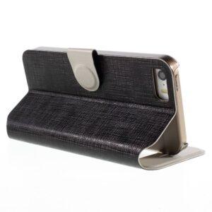 Zwartkleurige fijne ruiten patroom met Kijkvenster voor de iPhone SE/5/5S
