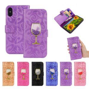 iPhone XS-max portemonnee hoesje  voorzien van met fijn zand gevuld wijnglas in donker roze