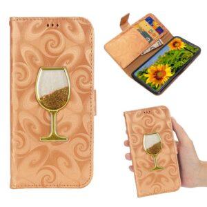 iPhone XS-max portemonnee hoesje  voorzien van met fijn zand gevuld wijnglas – oranje