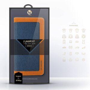 Funware collectie blauwe portemonee hoes, natuurlijke linnen en PU leer voor de iPhone 7 plus