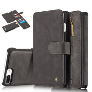 14 vaks 2 in 1 wallet hoesje iPhone 7 Plus zwart echt Split leer