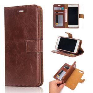 Bruine pu leren iPhone 7 wallet hoesje met los te maken case case