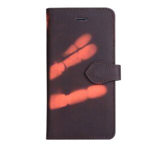 Thermo portemonnee  hoesje iPhone 7 PLUS en iPhone 8 PLUS Bruin wordt oranje bij warmte
