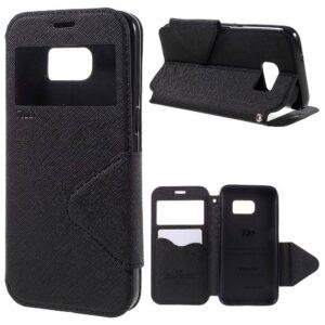 Lederen Pu portemonnee hoesje met kijkvenster Galaxy S7