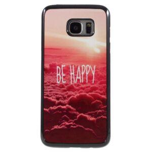 Be Happy plastic omhuld Aluminum Hardcase hoesje Galaxy S7 edge