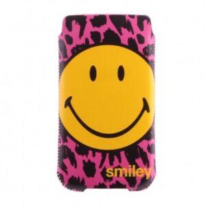 Insteek hoesje Roze/Zwart met grote smiley