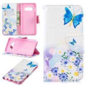 Samsung Galaxy S10 portemonnee hoesje chrysanten en vlinders