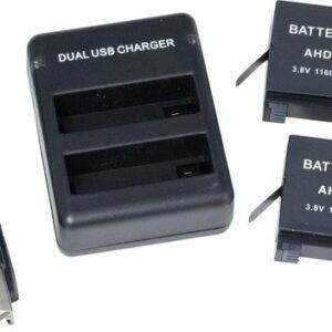SportsCam Dual Charger (Lader) + kabel voor Hero4 met 2 Batterijen