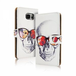 Skull gekleurde bril iPhone 6 Plus portemonnee hoesje