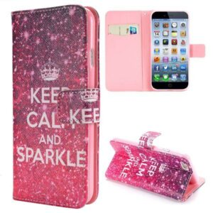 Keep calm and sparkle iPhone 6 portemonnee hoes