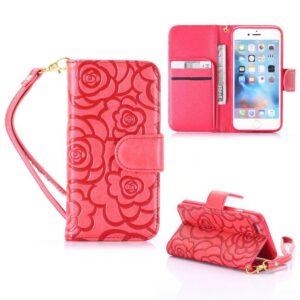 iPhone 6 Portemonnee hoesje voelbaar rozen patroon – rood