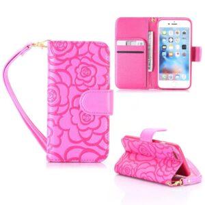 iPhone 6 Portemonnee hoesje voelbaar rozen patroon – roze