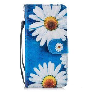 Hemels blauw met chrysanten iPhone 6+ (PLUS)  portemonnee hoes