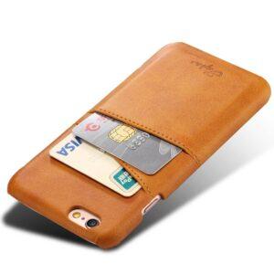 Bruine harde met pu leer bekleed iPhone 6 PLUS hoesje met ruimte voor 2 pasjes