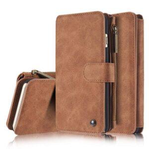 14 vaks wallet bruin hoesje met echt Split leer,  voor iPhone 6 Plus