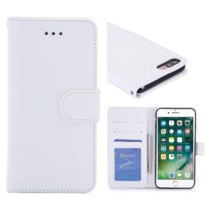 Crazy horse witte pu leren iPhone 7 Plus portemonnee hoesje
