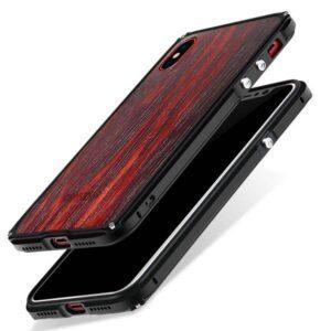 iPhone X Kevlar echt hout hardcase met alluminium bumper