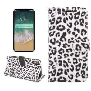 Luipaard wit iPhone X Portemonnee hoesje