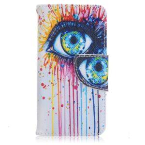 Kleurrijk oog iPhone SE, 5 en 5S portemonnee hoesje