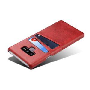 Harde met pu leer bekleed Galaxy Note 9  hoesje met ruimte voor 2 pasjes – rood