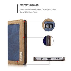 Samsung Galaxy S8 PLUS Portemonnee hoesje blauw met bruin