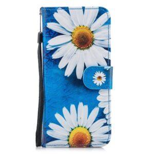 Hemels blauw met chrysanten Galaxy S8 PLUS  portemonnee hoes