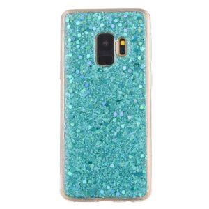 Hemelsblauw glitter (sequin). samsung galaxy S9 flex hoesje