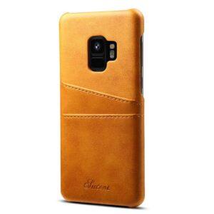 Bruine harde met pu leer bekleed Galaxy S9  hoesje met ruimte voor 2 pasjes