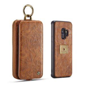Bruine flip case  wallet hoesje Samsung S9 TPU leer