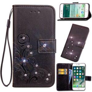 Zwarte met glimmertjes afgewerkt Galaxy S9 boekhoesje