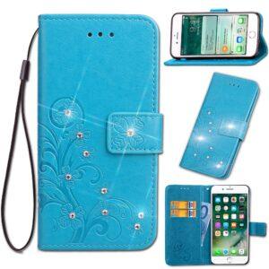 Blauwe met glimmertjes afgewerkt Galaxy S9 boekhoesje