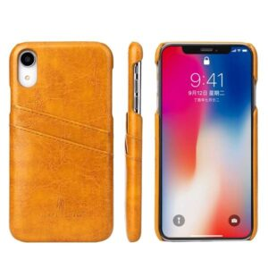 Bruine harde met pu leer bekleed iPhone XR hoesje met ruimte voor 2 pasjes