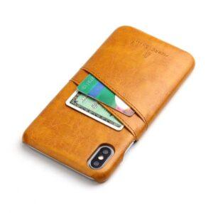 Bruine harde met pu leer bekleed iPhone XS MAX hoesje met ruimte voor 2 pasjes