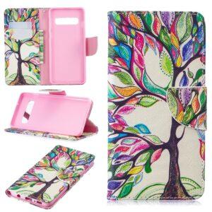 Kleurrijke boom Samsung S10 portemonnee hoesje