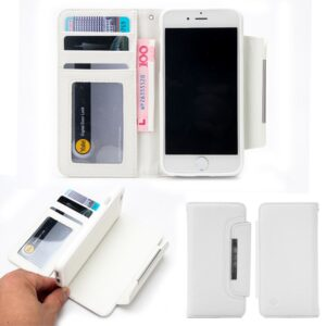 Wit pu leren iPhone 8, 7 en 6 portemonnee hoesje met los te maken case
